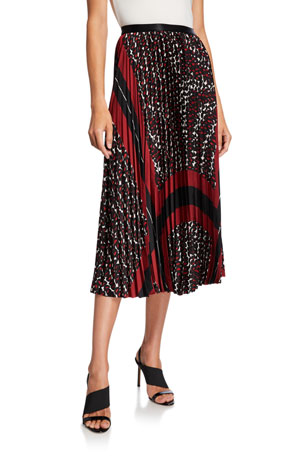 NIC+ZOE Plus Size Darling Pleated Graphic Midi Skirt