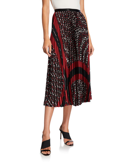 NIC+ZOE Plus Size Darling Pleated Graphic Midi Skirt