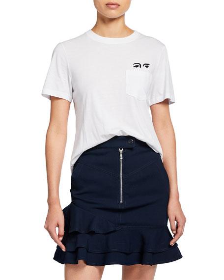 Derek Lam 10 Crosby Short-Sleeve Crewneck Tee with Eye Embroidery