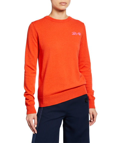 Derek Lam 10 Crosby Crewneck Sweater with Eye Intarsia