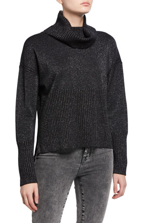 Derek Lam 10 Crosby Bond Metallic Turtleneck Sweater