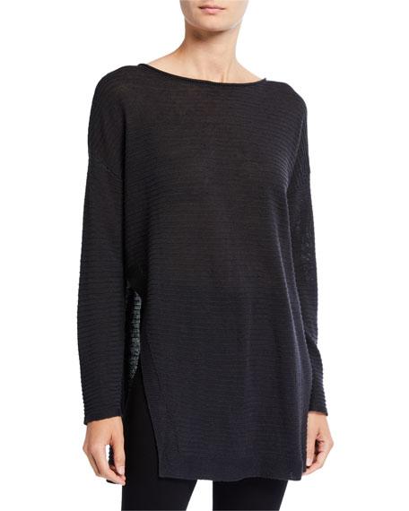 Eileen Fisher Organic Linen/Cotton Long-Sleeve Open-Side Rib Tunic Sweater