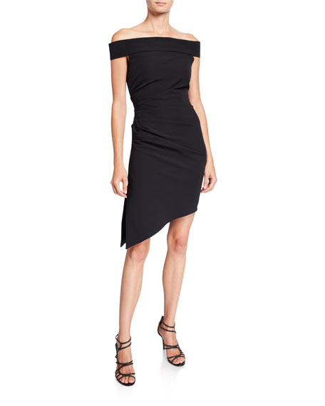 Milly Ally Off-the-Shoulder Asymmetric Cady Cocktail Dress
