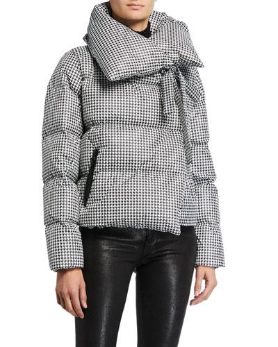 Tie-Collar Houndstooth Puffer Coat