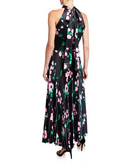 Milly Adrianna Painted Floral Pleated Satin Halter Dress