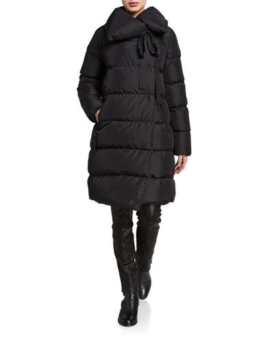 Asymmetric-Zip Long Down Coat