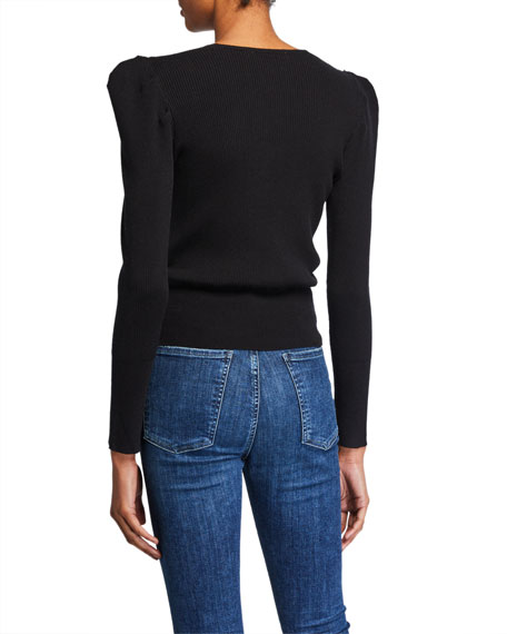 ASTR Suki Strong-Shoulder Wool Cropped Sweater