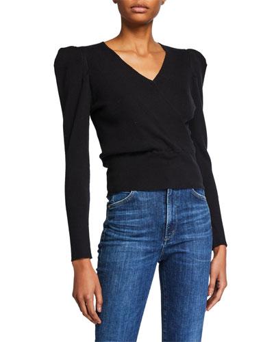Suki Strong-Shoulder Wool Cropped Sweater