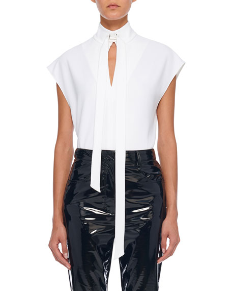 Tibi Structured Crepe Sleeveless Tie-Neck Top