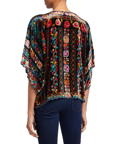 Johnny Was Lora Scallop-Edge Velvet Top