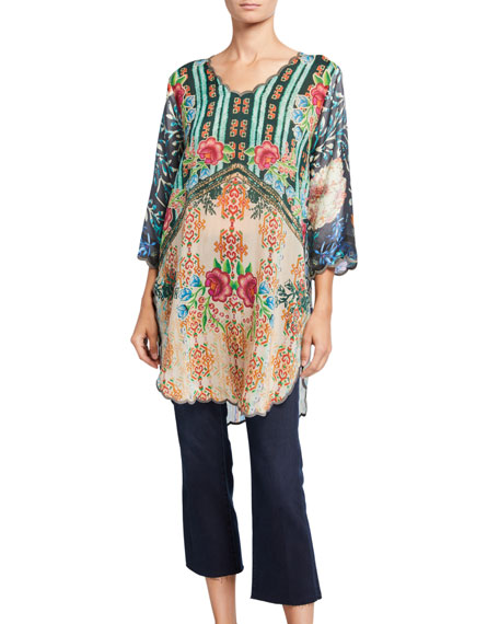 Johnny Was Margery Printed 3/4-Sleeve Scallop Edge Tunic