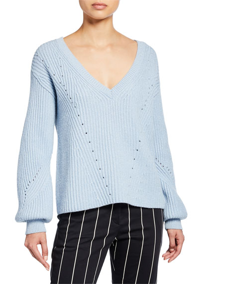 Image 1 of 2: Derek Lam 10 Crosby Ribbed V-Neck Sweater