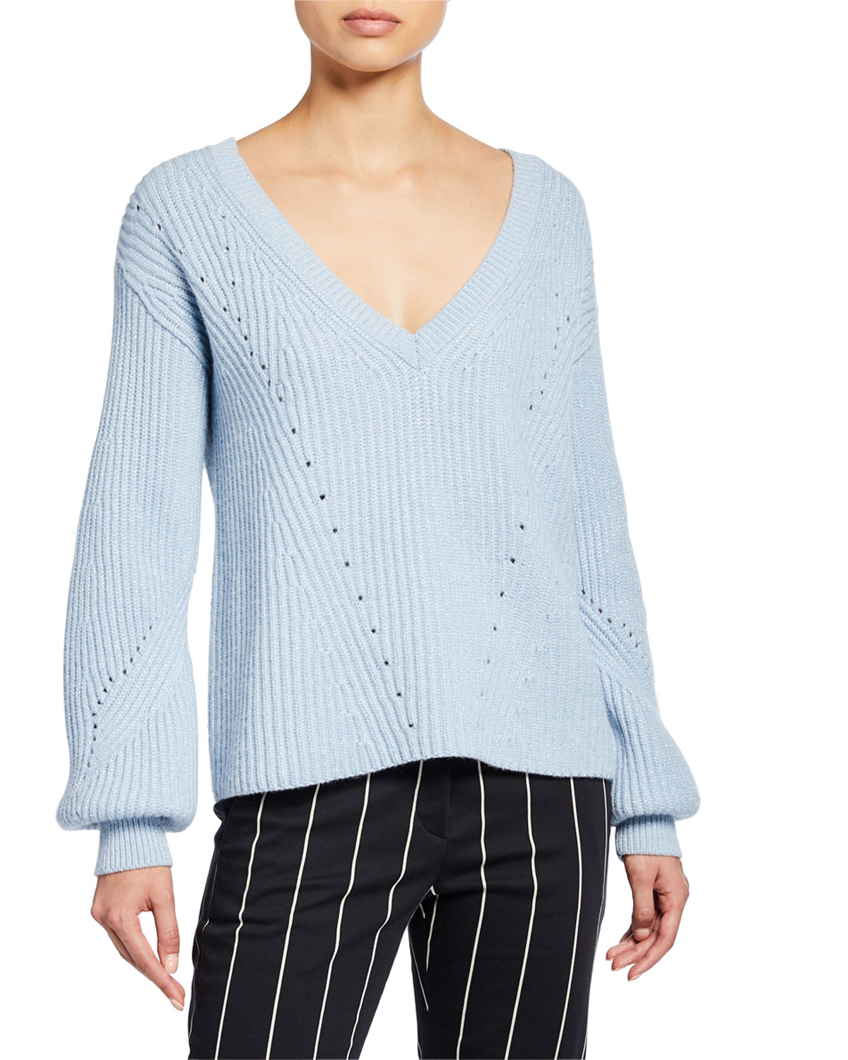 Derek Lam 10 Crosby Ribbed V-Neck Sweater