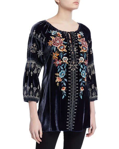 Johnny Was Plus Size Elani Embroidered Velvet Peasant Blouse
