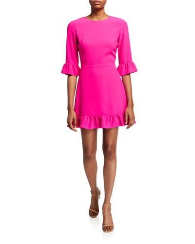 Candice 3/4-Sleeve Flounce Dress