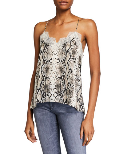 The Racer Snake-Print Charmeuse Camisole with Lace