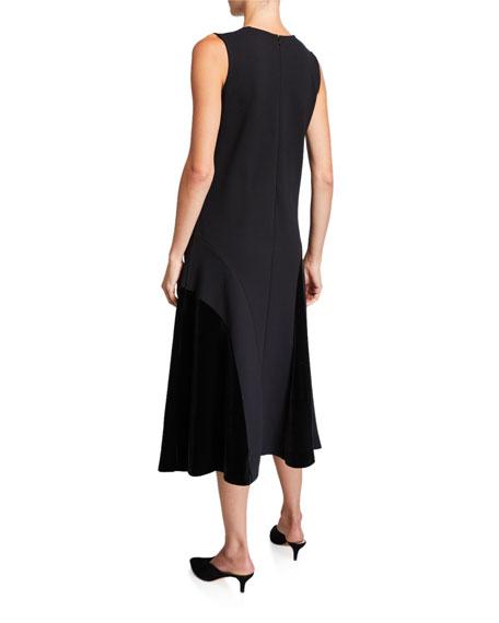 Joan Vass V-Neck Sleeveless Dress with Seaming Detail & Velvet Blocking