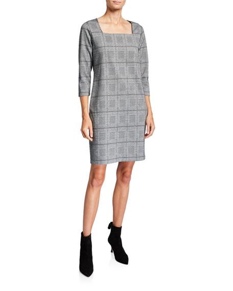 Joan Vass Stretch Plaid Square-Neck 3/4-Sleeve Shift Dress