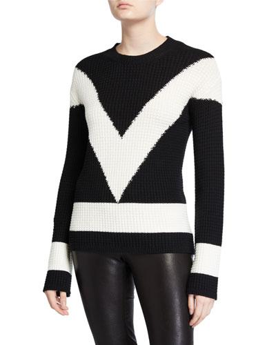 Long-Sleeve Colorblock V Sweater