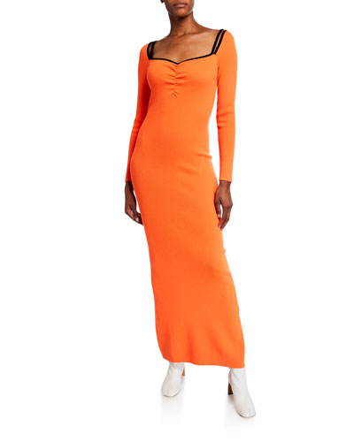 Long-Sleeve Maxi Dress with Back Slit