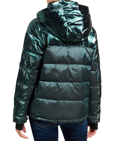 49 Winters Metallic Boxy Down Jacket, Blue