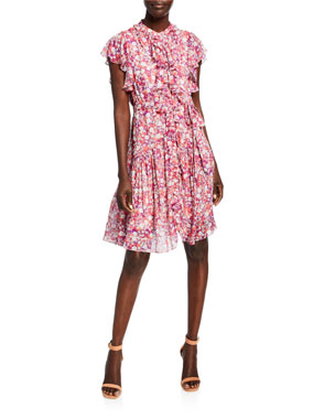 c8dbd5bf65 Shoshanna Rylee Anfa Floral-Print Ruffle Dress
