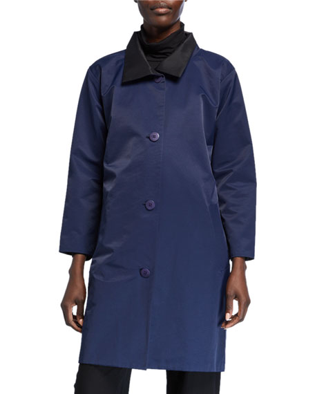 Eileen Fisher Plus Size Reversible Button-Front Coat with Stand Collar