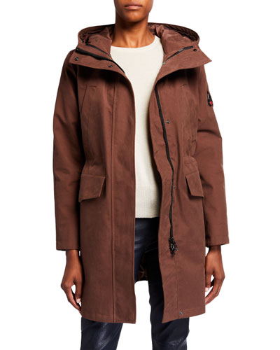 Long Hooded Parka  Brown