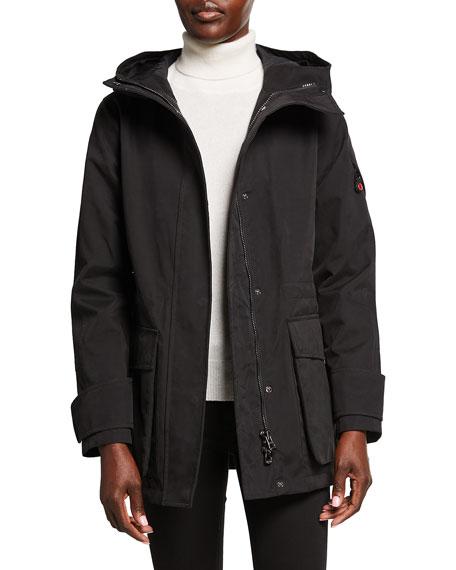 49 Winters Long Hooded Parka, Black