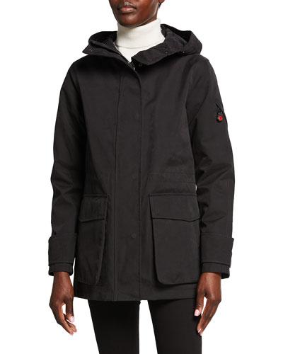 Long Hooded Parka  Black