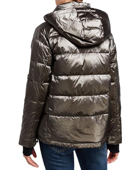 49 Winters Metallic Boxy Down Jacket, Gray