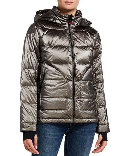 Metallic Boxy Down Jacket  Gray