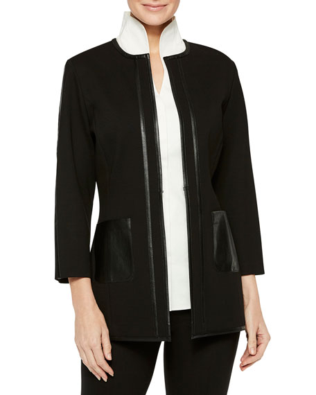 Misook Ponte Jacket with Faux Leather