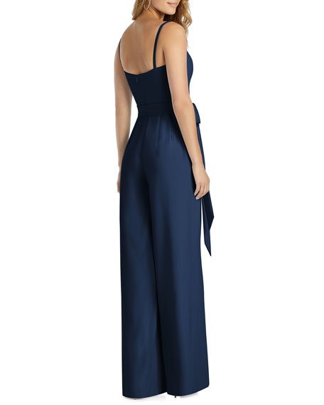 Dessy Collection Spaghetti-Strap Crepe Jumpsuit with Self-Sash