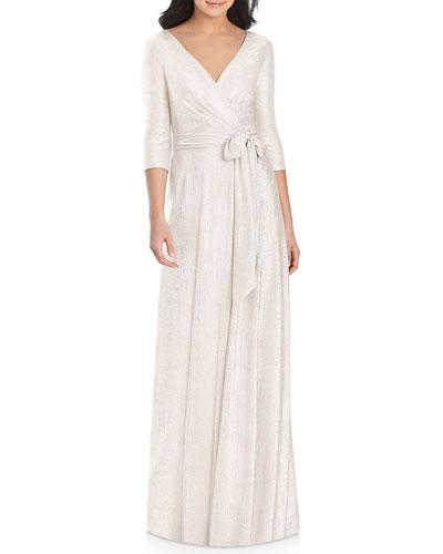 Metallic 3/4-Sleeve Wrap Gown