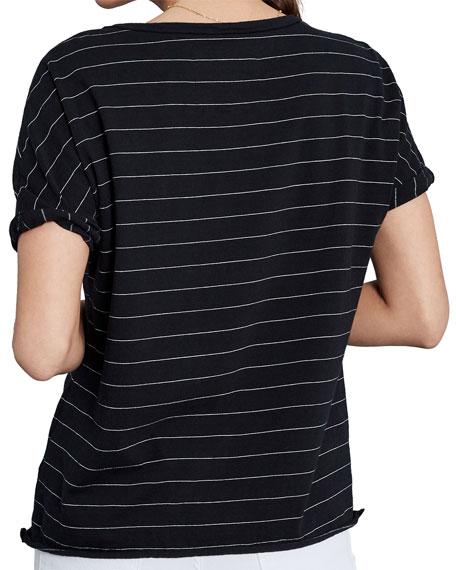 Frank & Eileen Tee Lab Striped Deep V-Neck Short-Sleeve Jersey Tee