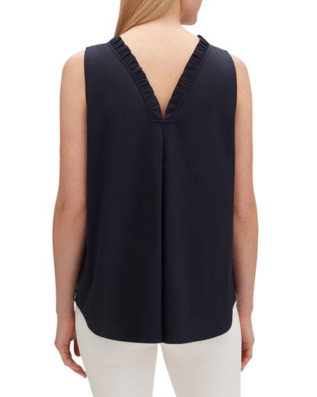 Lafayette 148 New York Yvette Sleeveless Italian Stretch Cotton Blouse