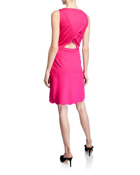 kate spade new york sleeveless scallop-back ponte dress