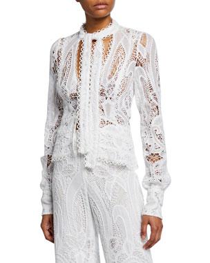 65ae568674bac Alexis Durham Tie-Front Lace Blazer