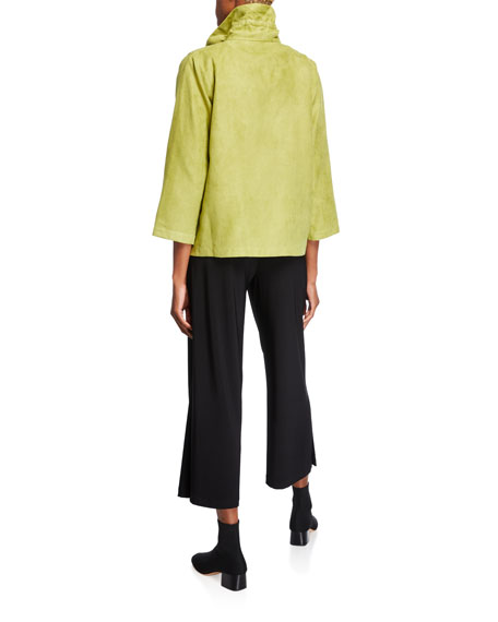 Caroline Rose Modern Faux Suede Zip-Front Jacket with Pockets