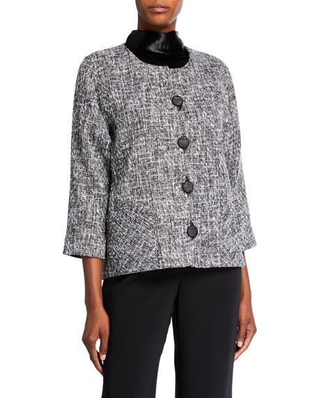 Caroline Rose Plus Size Glamour Tweed Boxy Jacket