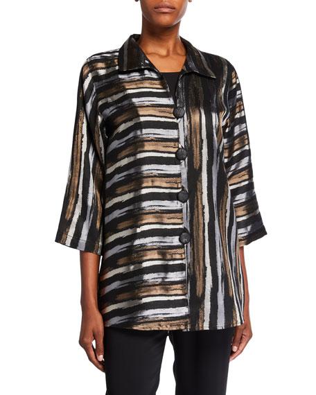 Caroline Rose Plus Size Tonal Striped Jacquard Shirt Jacket