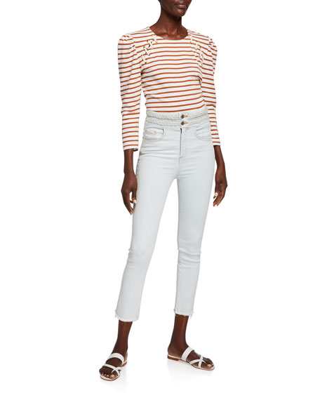 Veronica Beard Carly Braided Kick Flare Jeans