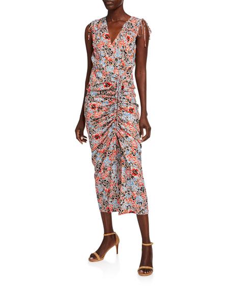 Veronica Beard Teagan Floral Ruched Tie-Shoulder Sleeveless Dress