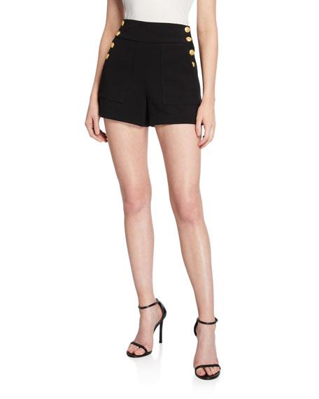 Alice + Olivia Donald High-Waist Side-Button Shorts