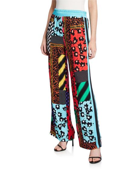 Alice + Olivia Benny Smocked-Waist Pants with Racer Stripes