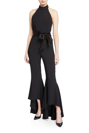 Alice + Olivia Carmel Mock-Neck High-Low Jumpsuit