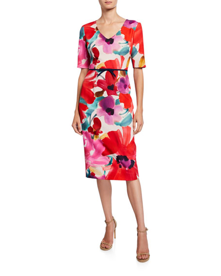 Trina Turk Mid Century Floral V-Neck Short-Sleeve Sheath Dress