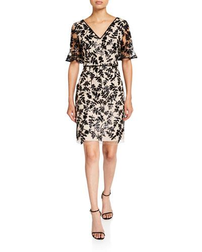 Leaf Embroidered V-Neck Short-Sleeve Sheath Dress