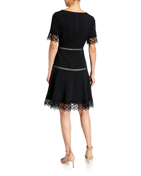 Shani Lace-Trim Crepe Fit-and-Flare Dress